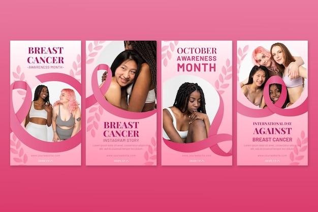 写真付き乳がんインスタグラムストーリーコレクションに対するグラデーション国際デー