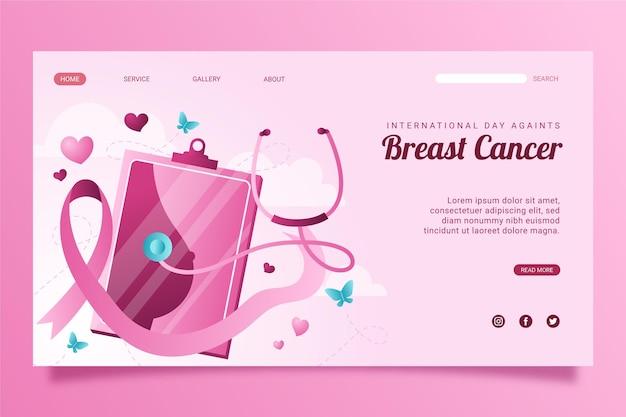Шаблон целевой страницы градиентного международного дня борьбы с раком груди