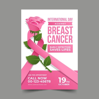 乳がん垂直ポスターテンプレートに対するグラデーション国際デー