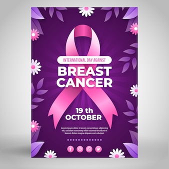 Gradient international day against breast cancer vertical poster template