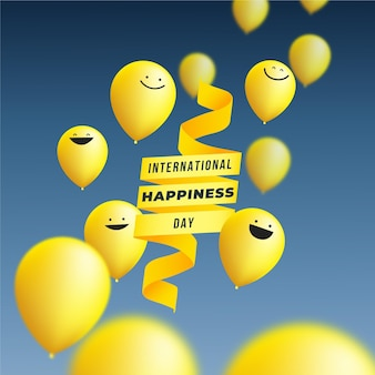 Gradient international day of happiness illustration with balloons