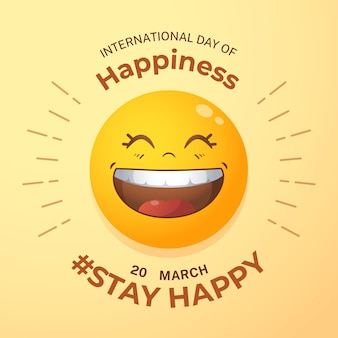 Gradient international day of happiness illustration with emoji