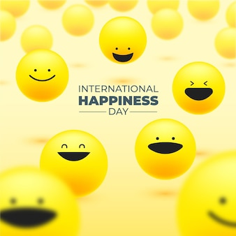 Gradient international day of happiness illustration with emojis