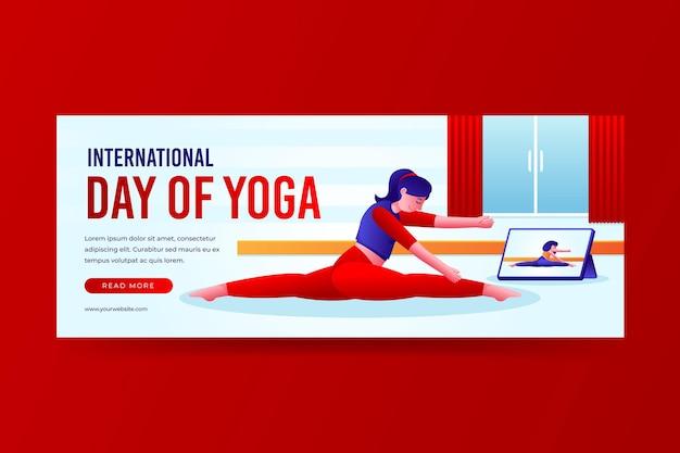 Modello di banner giornata internazionale di yoga gradiente
