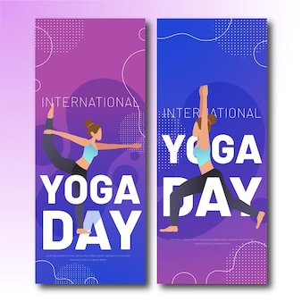 Gradient international day of yoga banner template