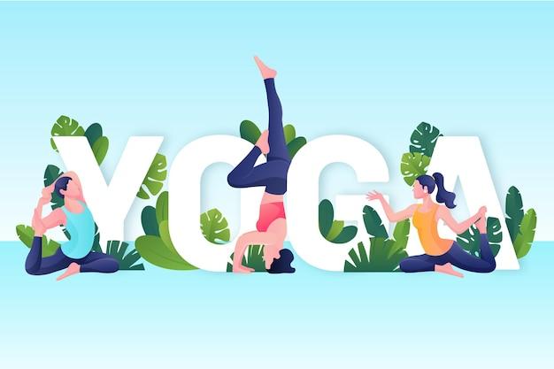 Gradient international day of yoga illustration