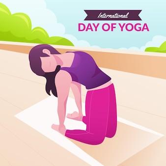 Giornata internazionale gradiente dell'illustrazione di yoga