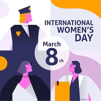 女性の職業とグラデーション国際女性の日のイラスト