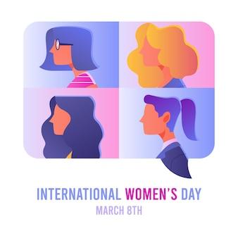 Градиентная иллюстрация международного женского дня с женскими профессиями