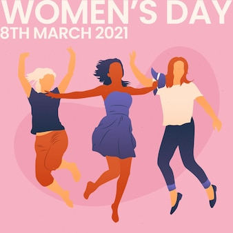 Gradient international women's day illustration with women jumping