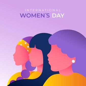 Градиентная иллюстрация международного женского дня с женщинами