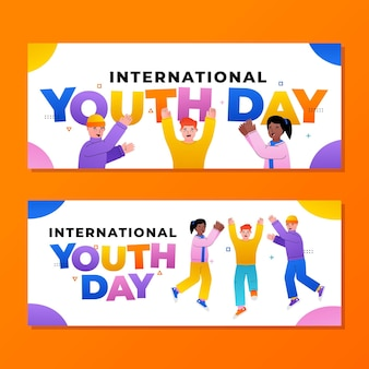 Set di banner per la giornata internazionale della gioventù sfumata