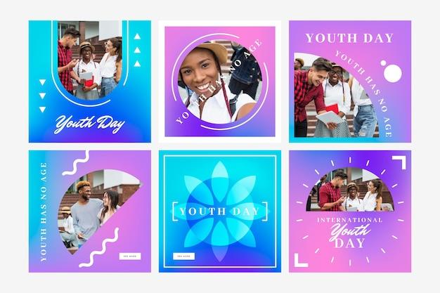 Raccolta di post per la giornata internazionale della gioventù sfumata con foto