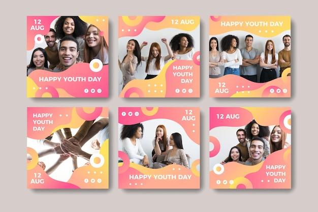 写真付きのグラデーション国際青少年デー投稿コレクション