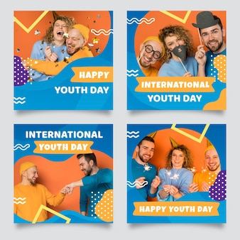 Raccolta di post della giornata internazionale della gioventù sfumata con foto