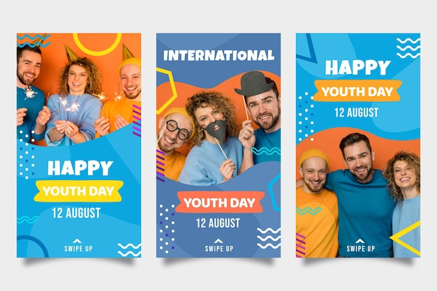 Gradient international youth day stories collection with photo