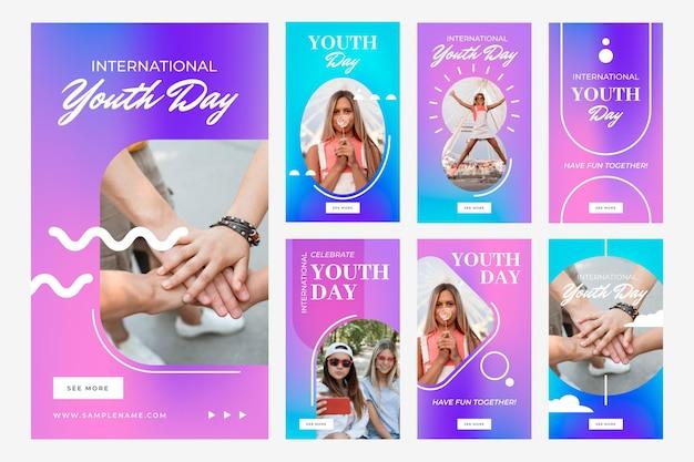 Коллекция историй международного дня молодежи градиент с фото
