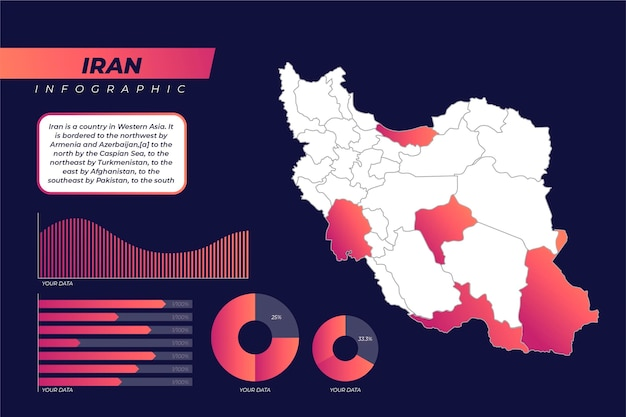 Градиент иран карта инфографики