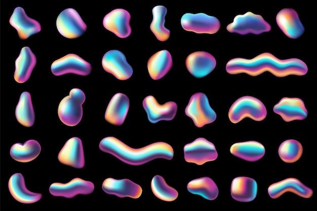 Градиентные переливающиеся формы. абстрактные яркие жидкие радужные металлические окраски элементы, органические голографические пузыри. неоновые футуристические 3d реалистичные динамические формы текстуры современный футуристический векторный набор 80-х