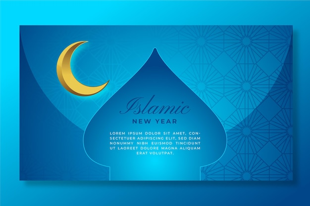 Gradient islamic new year banner template
