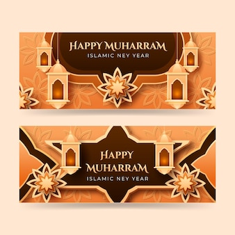Gradient islamic new year banners set