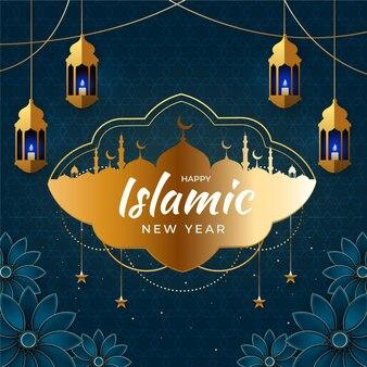 Градиент исламской новогодней иллюстрации