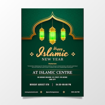 Gradient islamic new year vertical poster template