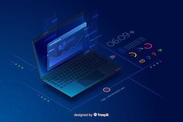 Градиент изометрической ноутбук технологии фон