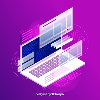 Gradient isometric laptop technology background