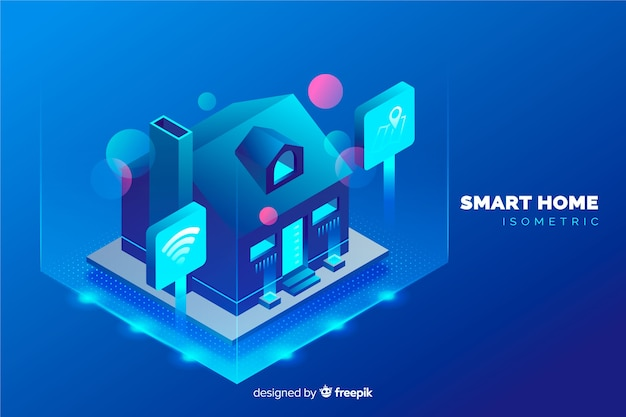 Gradient isometric smart home background
