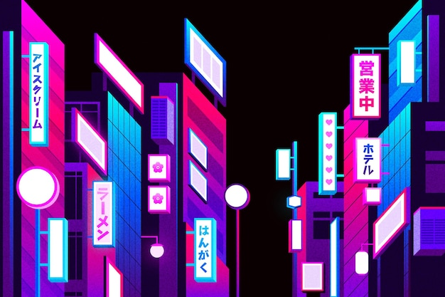 Gradient japanese street with neon lights
