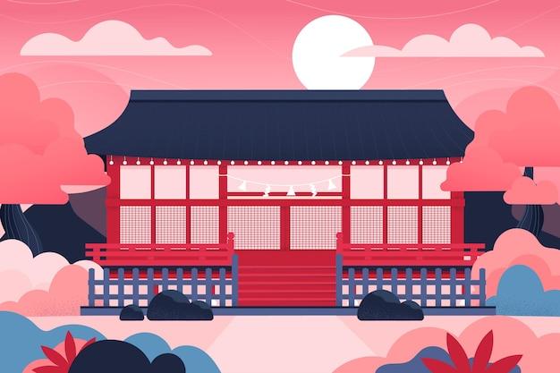 그라데이션 일본 사원과 태양 무료 벡터