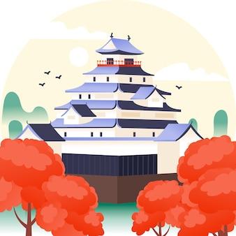 Illustrazione disegnata a mano del castello giapponese