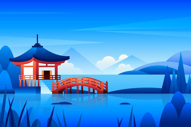 Gradient japanese temple illustration