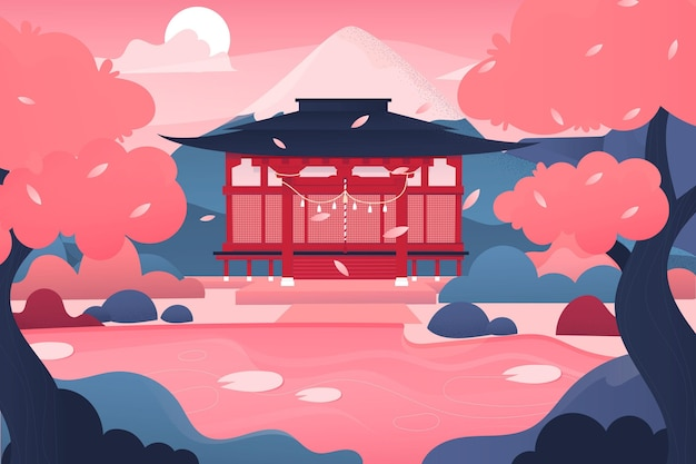 Gradient japanese temple and pink trees