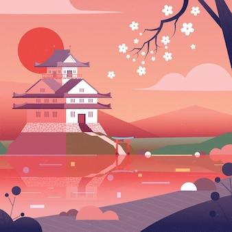 Градиентный японский храм с белыми цветами