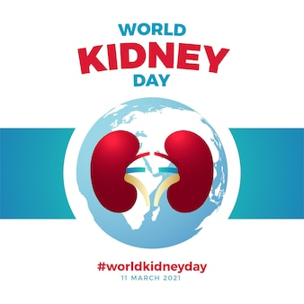 Gradient kidney day illustration with planet