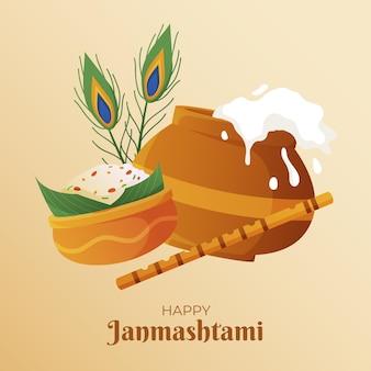 Gradient krishna janmashtami illustration