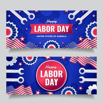 Set di banner orizzontali per la festa del lavoro sfumato