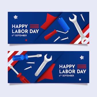 Gradient labor day horizontal banners set
