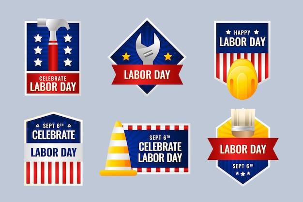 Collezione di etichette per la festa del lavoro sfumata