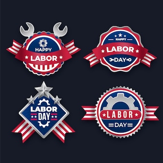 Gradient labor day labels collection