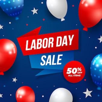 Градиентная иллюстрация продажи дня труда