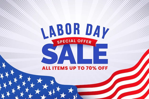 Gradient labor day sale illustration