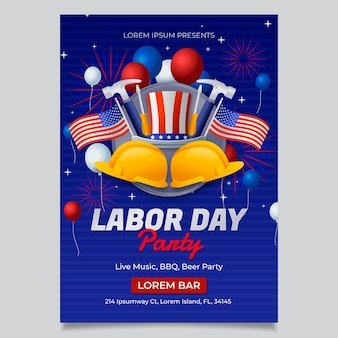 Gradient labor day vertical flyer template