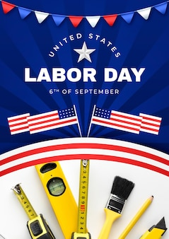 Gradient labor day vertical poster template with photo