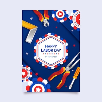 Gradient labor day vertical poster template