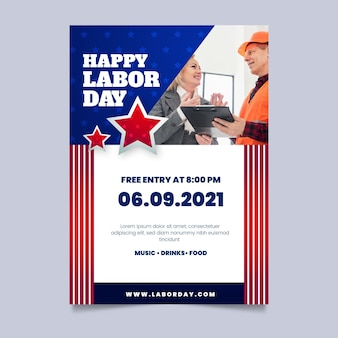 Gradient labor day vertical sale flyer template with photo