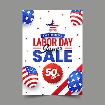 Gradient labor day vertical sale poster template