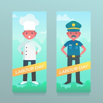 Gradient labour day banners set